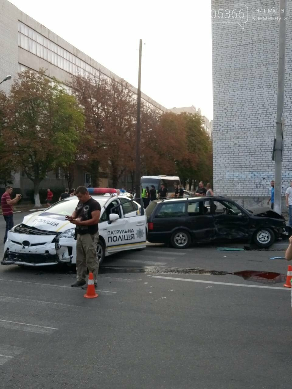 В центре Кременчуга машина патрульной полиции врезалась в Фольксваген. Трое пострадавших (ФОТО), фото-2