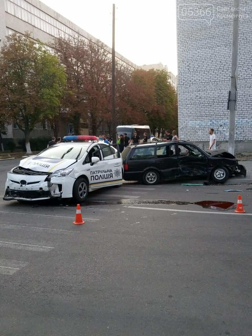В центре Кременчуга машина патрульной полиции врезалась в Фольксваген. Трое пострадавших (ФОТО), фото-1
