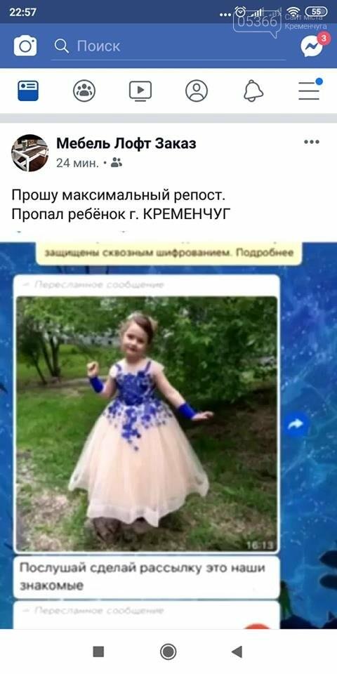 У Кременчуці небайдужі люди розсилають фейк про зниклу дівчинку, фото-1