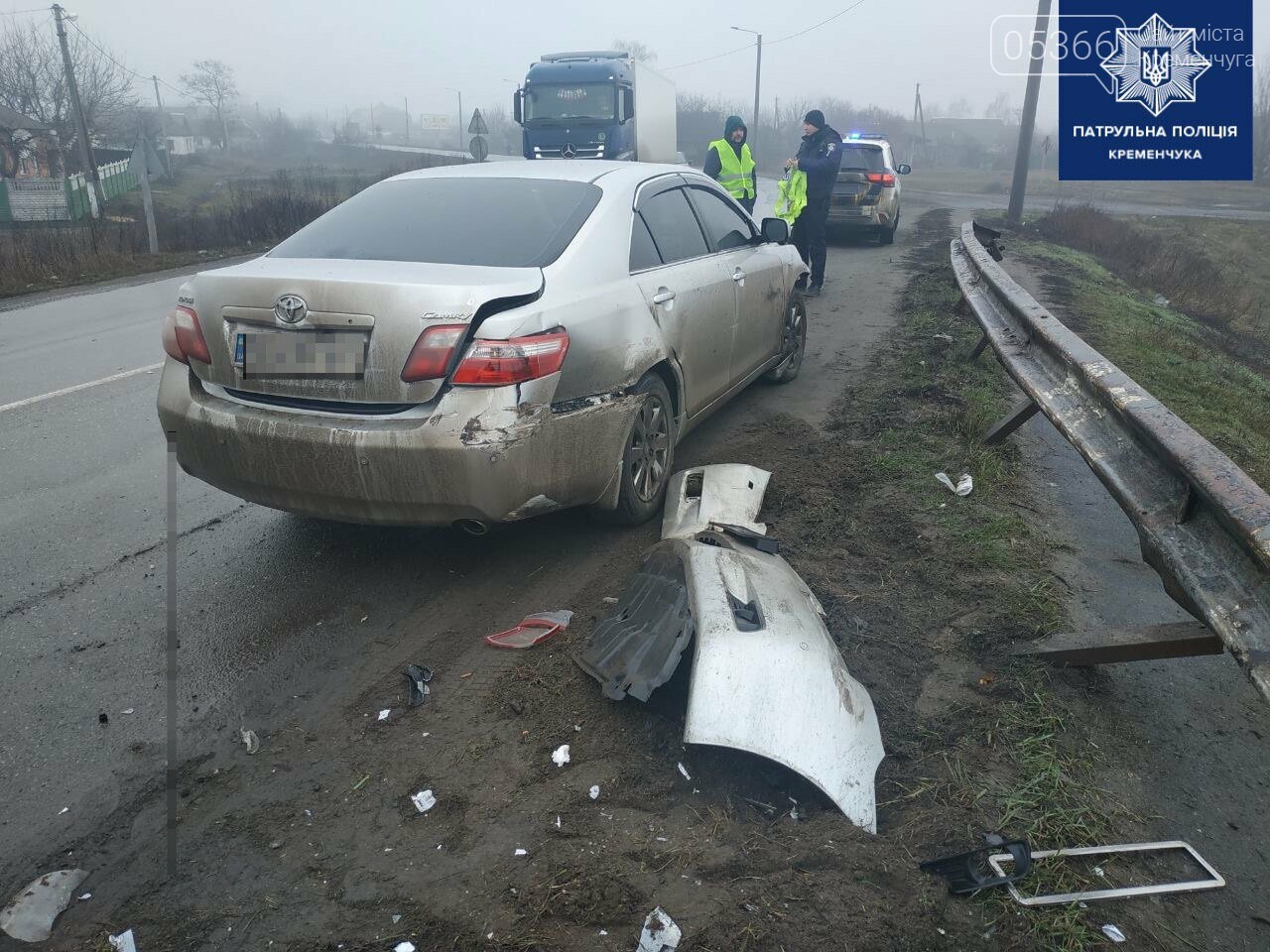 Біля Кременчука водій врізався у дорожній відбійник, фото-1