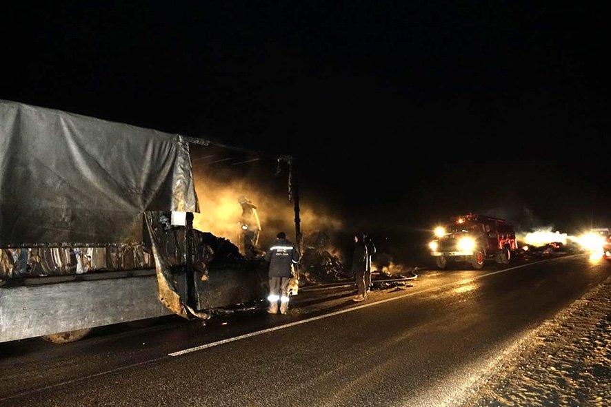 пожар в грузовике